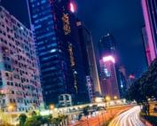Street traffic in Hong Kong at night